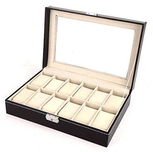Uhrenbox mit 12 Fächern, Uhrenkasten mit Glasdeckel, Uhrenkoffer mit Herausnehmbaren Uhrenkissen, Watch Box Aufbewahrung aus PU Leder und Samt Schwar, Aufbewahrungsbox Vitrine für Uhren Schmuck