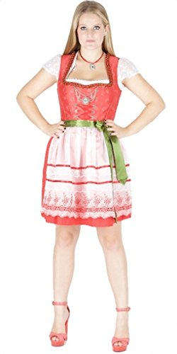 Country-Line 11864 - Vestido de tirolesa (50 unidades), color rojo, crema y verde rojo 50