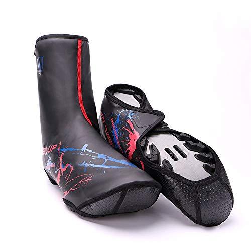 Cubrezapatillas De Bicicleta, Cubierta De Pie Cálida De Invierno, Antideslizante Gruesa, Cubierta De Zapato Impermeable, Cubierta De Calzado Deportivo para Exteriores, Diseño Reflectante (XL,Rojo)