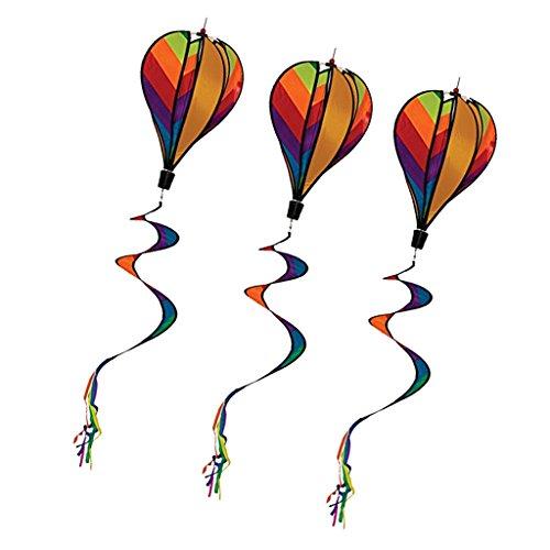 Fenteer 3 Stücke Bunte Heißluftballon Windsack Windspiel Ballon Windrad mit lockigen Schwanz - 140 x 25cm
