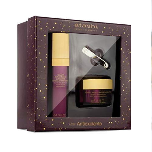 Atashi | Cofre de belleza Ritual Antioxidante Regenerativo | Sérum + Crema Antiedad Regenerante + Espátula Masajeadora