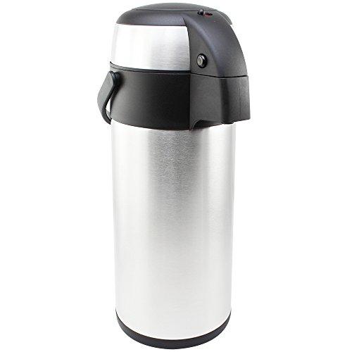 com-four® 5L Isolier-Pumpkanne - 5 Liter Airpot aus Edelstahl - Doppelwandige Isolierkanne mit Pumpmechanismus (01 Stück - 5 Liter)