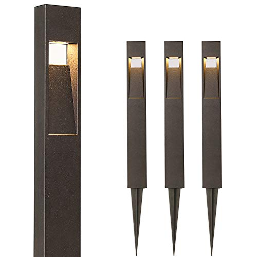 Hykolity Low Voltage Landscape Pathway Light, 2W 48LM Matte Black Integrated LED Outdoor Walkway Light for Yard Lawn, Die-Cast Aluminum Construction, 4-Pack, ETL Listed, 15-Year Lifespan