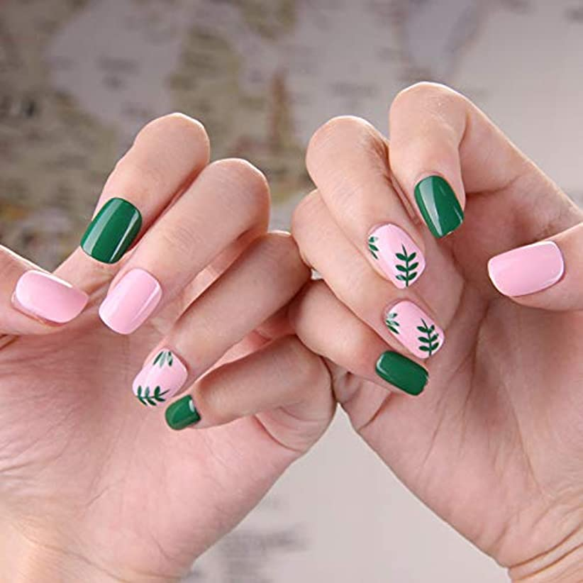 薄いです追放レビュー可愛い優雅ネイル 女性気質 手作りネイルチップ 24枚入 簡単に爪を取り除くことができます フレンチネイルチップ 二次会ネイルチップ 結婚式ネイルチップ (粉と緑 グリーン)