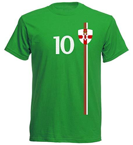 Nordirland Tuaisceart Éireann Herren T-Shirt Nummer 10 Trikot Fußball Mini EM 2016 T-Shirt - S M L XL XXL - grün NC ST-1 (L)