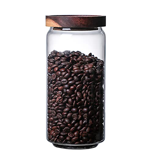 MOLADRI 960ML/32Oz Clear Cute Glass Storage Canister Holder with Airtight Wood Lid, Modern Decorative Container Jar for Coffee, Spice, Candy, Salt, Cookie, Condiment, Pepper, Sugar