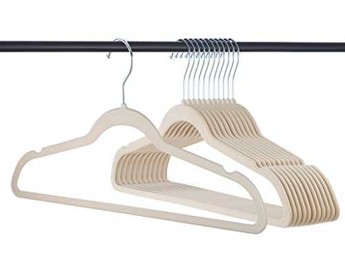 Home-it Premium Velvet Heavy duty-50 Pack - Non Slip Ivory Suit Clothes Hanger - Hook Swivel 360 - Ultra Thin