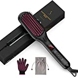 Hair Straightener Brush, 25 Seconds Fast Heating Hair Straightening Brush with Negative Ions,16 Temperature...