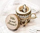 "Verlobungs Ring Box Holz, Heiratsantrag Astholz Schachtel, Antrag Gravur""Willst du mich heiraten?"", Verlobungsring, alternatives Ringkissen, Ringträgerkissen zur Verlobung, Astholzdose,"