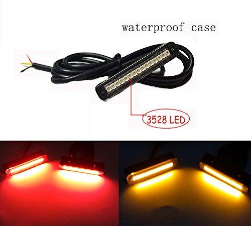 1 x LED étanche éclairage de plaque avec 15 Rouge et jaune LED Lumière de plaque d'immatriculation, DE sauvegarde Queue de lumière, lumière ou lumière de frein pour voiture RV SUV Moto Vélo...