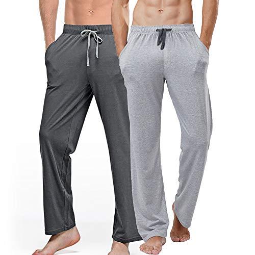 Herren-Schlafanzughose aus Baumwolle, mit Taschen, für Frühling und Herbst, 2 Stück, 008, XXL