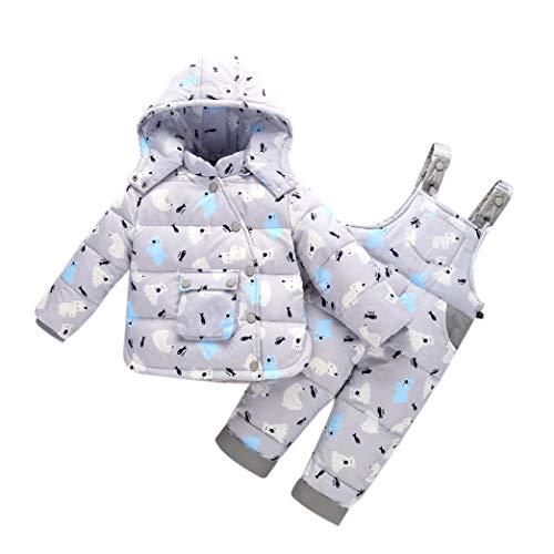 Enfants Hiver Combinaison de Ski Infant Bib Pants - Tout-Petit Veste Manches Longues Sweat Capuche Chaud Vêtements de Snow Pantalons Unisexe (100cm Gris)