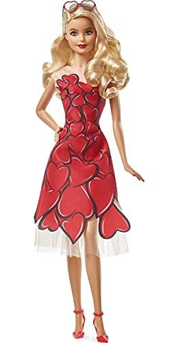 Barbie Signature Poupée de Collection Je t'aime, robe cœur rouge et lunettes de soleil, emballage personnalisable, jouet collector, FXC74
