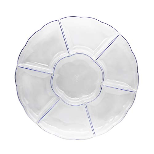 Party Essentials N600331 Hard Plastic Round Divided Serving Tray, 1-Count, 16