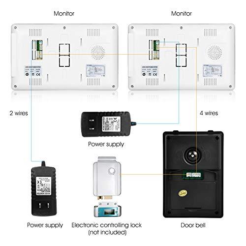 FLOUREON Kit de Teléfono con Timbre Intercomunicador con 2 Monitores a Color LCD DE 7