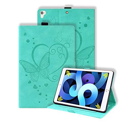 Keikail Funda Compatible con iPad 9.7 (2018/2017) 5.ª/6.ª generación, iPad Air 2, iPad Air, Funda Protectora de Cuero PU, Cubierta Estuche Carcasa Tipo Libro Fina con Soporte Función , Verde