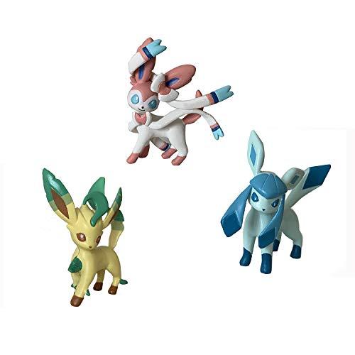 Shuai Pokémon Feature Battle Action Pose 3 Figures Pack,Collection Pocket Monster Authentic Details Action Figure (Sylveon, Glaceon and Leafeon)