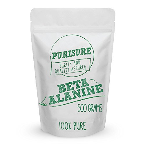Purisure Beta Alanine Powder 500g (667 Servings), Endurance for Workout, Train Harder for Longer Hours, Increase Muscle Mass, Improved Recovery Time