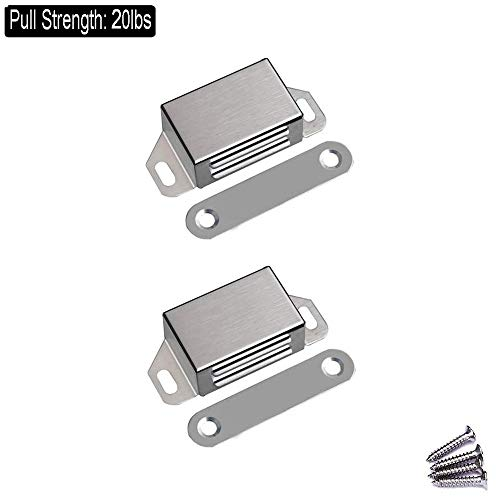 WOOCH Magnetic Door Catch - 20lb High Magnetic Stainless Steel Heavy Duty Catch for Kitchen Bathroom Cupboard Wardrobe Closet Closures Cabinet Door Drawer Latch (2.1 in Silver, 2-Pack)