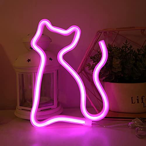 Luces de neón Señales de gato LED Luz de pared Decoración de habitación Luces nocturnas Funciona con batería y USB para niños Habitación de bebé Manguera Bar Decoración de fiesta de boda-PINK CAT