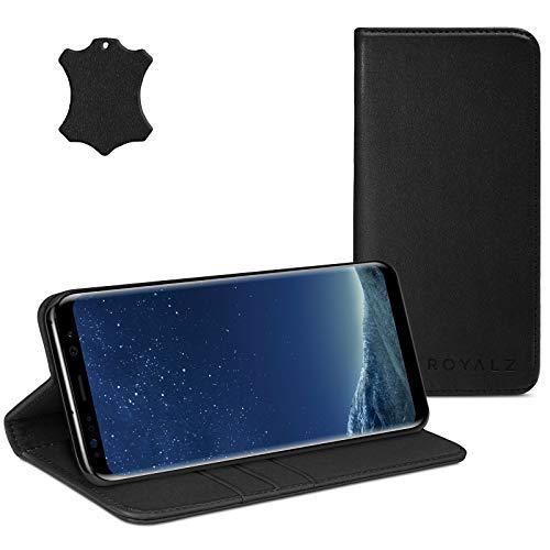 ROYALZ Ledertasche für Samsung Galaxy S8 Plus Lederhülle (für Galaxy S8+ SM-G955F / G955 & Galaxy S8 Plus Duos) Tasche Cover Hülle Schutzhülle - Magnetverschluss, Farbe:Schwarz
