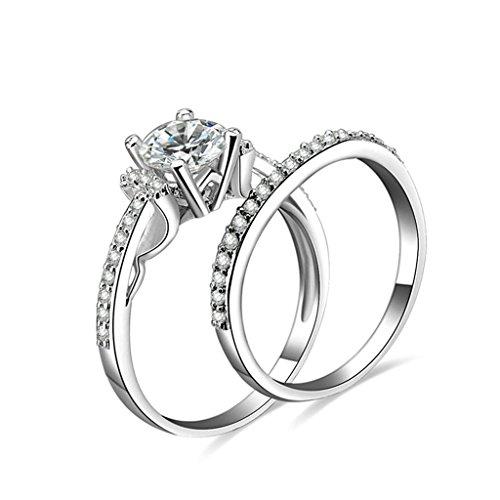 Daesar Silberring Damen Ring Silber Ehering für Damen Verlobungsring Benutzerdefinierte Ring Strass Ring Verlobungsring Größe:60 (19.1)