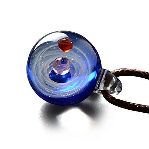 LINCMAN Natural Glass Galaxy Pendant Necklace Jewelry, for Lovers, Series Nebula Necklace,Space Cosmos Design Necklace,Birthday Gift Necklace(Blue)