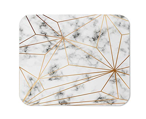 Yeuss Marble Mouse Pad Rectangular Non-Slip Mousepad, Vector Marble Texture Design with Golden Geometric Lines Black and White Marbling Surface Gaming Mouse Pads, White Gray Yellow,200mm x 240mm
