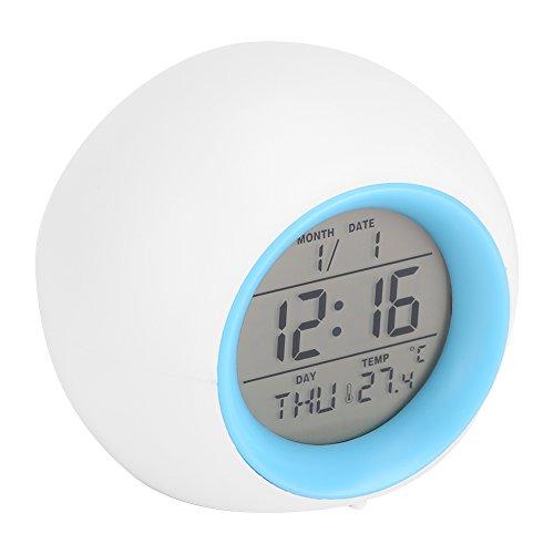 Despertador Digital, Reloj Alarma con Luz de Colores Múltiples y Sonidos de la Naturaleza, Pantalla LED con Presentación de Hora, Fecha, Temperatura, Función Snooze