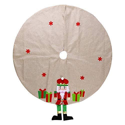 NLRHH Weihnachtsbaumrock 120cm Weihnachten Nussknacker Figuren Soldat Baum Röcke Runde Teppich Weihnachtsdekor Bodenmatte (Farbe: rot) Peng (Color : Red)