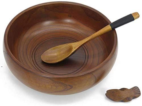Qilo Madera Bowl - azufaifa de Madera Utilizado de Estilo japonés Vajilla - Suave y Cuencos de arroz cómodo y práctico Delicada Superficie no tóxico e insípido (Size : Diameter: 22.5cm)