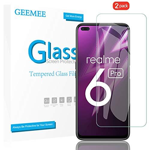 فيلم GEEMEE خفف من الزجاج ل Realme 6 PRO Realme X50 ، 9H صلابة حامي الشاشة ، مضاد للخدش HD واقي شاشة شفاف واقية فيلم (شفاف) - قطعتين