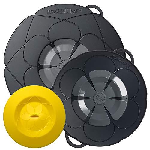 Kochblume vom Erfinder Armin Harecker [2er Set] L 29cm + S 22cm anthrazit | für Topfgrößen von Ø 14 bis 24 cm | mit Frischhaltedeckel gratis