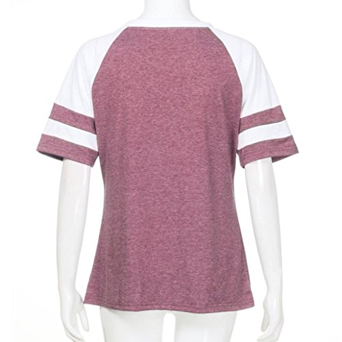 HHei_K Women's Summer Letter Print Striped Splice Tops Casual Cotton V Neck Sport T Shirt Short/Long Sleeve Blouse