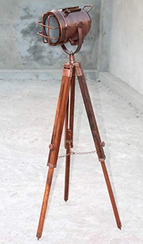 Lampada da terra antica con proiettore a treppiede in legno Marine Studio Search Spotlight Lampada ad angolo per la tua casa e UFFICIO Decor