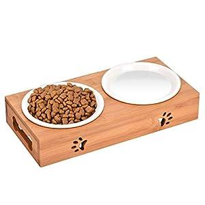 Queta Katze Napf-Set Anti-Rutsch Katzennäpfe Keramik Set mit Bambus Ständer Katzennäpf Hundenäpf Haustier-Zufuhr Bambus… 1
