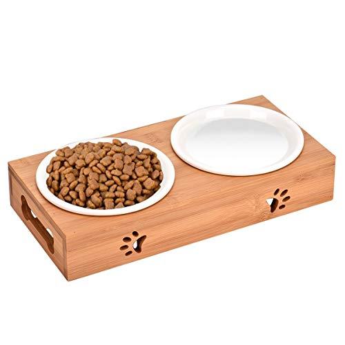 Queta Set di ciotole per cani e gatti, antiscivolo, in ceramica, con supporto in bambù