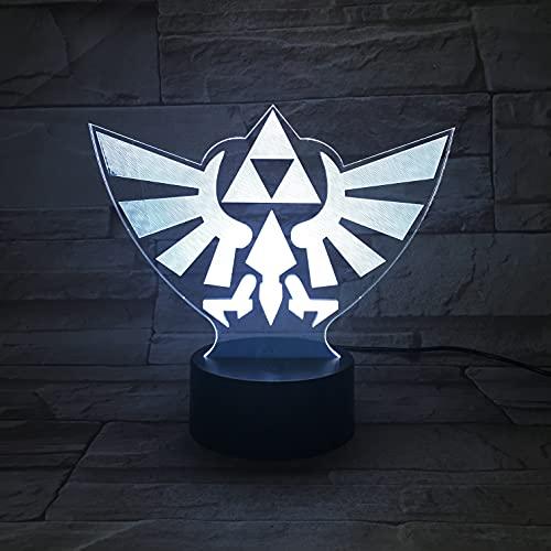 Lampara LED Videojuego The Legend of Zelda Triforce Hyrule Logo Cambia Color USB Luz nocturna y decoración