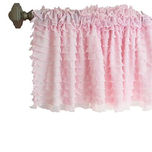 Light Baby Pink Sheer Ruffle Valance Extra Wide Window Treatment, Kitchen Tier Curtains