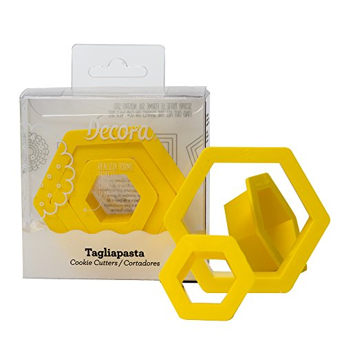 Dekorieren, Set Ausstechformen sechseckig, Kunststoff, Gelb, 1,5/2,5/3,5x 2,2cm (Pack von 3)