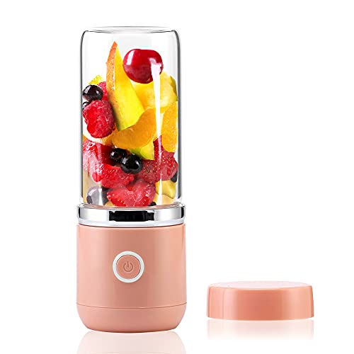 AVIO Portable Blender for Shakes and Smoothies | Quick USB Rechargeable | 4 Leaf Stainless Steel Blade | 13 Oz Durable High Boron Glass Jar | Handheld Personal Travel Blender with Travel Jar and Lid
