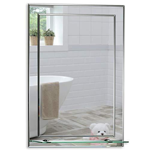 Schöner rechteckiger Badezimmerspiegel mit Ablage, modern und stylish, 2 Lagen Glass, mit abgerundeten Kanten, Wandbefestigung, Badspiegel, Wandspiegel, abgeschrägte Kante, Spiegel 60cm X 43cm