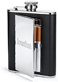 TOP SHELF FLASKS 6oz Leather Hip Flask with Cigarette Case, Free Custom Personalization