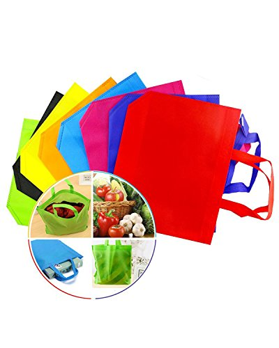 Newbested 32 PCS 13'×10' Assorted Colors Party Gift Tote Bags,Polyester Non-Woven Material,Assorted Colorful Blank Canvas Bags,Rainbow Colors With Handles For Birthday Favors, Snacks, Delivery Bag, ra