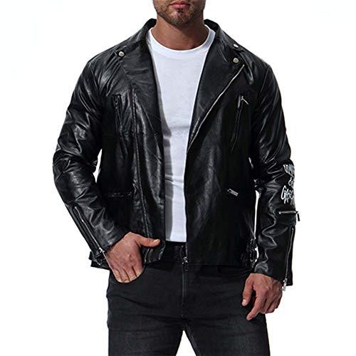 DAFAMOTORBIKE Herren Biker Jacke, Multi-Reißverschluss Leathers Lederjacke Jacke mit Muster drucken Biker Motorrad,L
