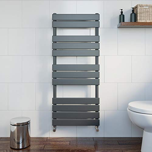 Price comparison product image DuraTherm Heated Towel Rail Radiator For Bathrooms Wall Mounted Flat Panel Ladder Anthracite 1200 x 500mm