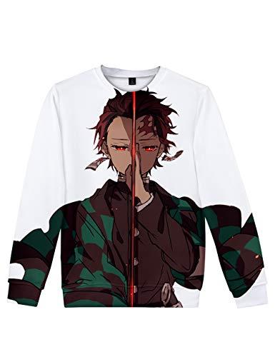 Suéter com capuz e gola redonda de manga curta caçador de demônios 3D Tanjiro Rengoku Zenitsu Nezuko Cosplay, G, 3XL