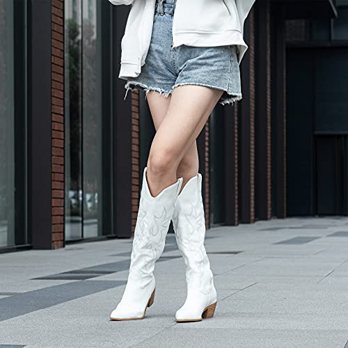 Women's Embroidered Western Cowboy Boots Knee High Stitching Almond Medium Heel Chunky Heel 5cm Pointed Toe Fashion Retro Classic Boot Pull-On (numeric_5)