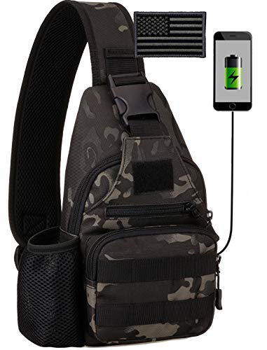 Protector Plus Tactical Sling Bag Military MOLLE Crossbody Pack with USB Charging Port Chest Shoulder Backpack EDC Diaper Satchel Motorcycle Bicycle Daypack (Patch Included),Black Camo