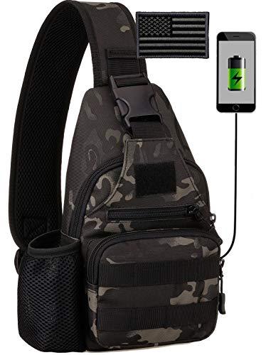 BlesMaller Mochila táctica militar MOLLE Crossbody Pack con puerto de carga USB en el pecho y en el hombro, mochila para pañales EDC para moto, bicicleta, mochila de día, color negro (parche incluido)